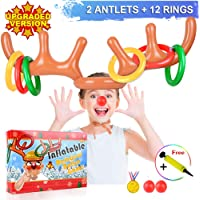 [2019 New Version] 2 Set Inflatable Reindeer Antler Game (2 Reindeer Antler Hat with 12 Ring Toss, 2 Red Reindeer Nose, 1 Medal and 1 Hand-held Pump) Great Family Christmas Party Games