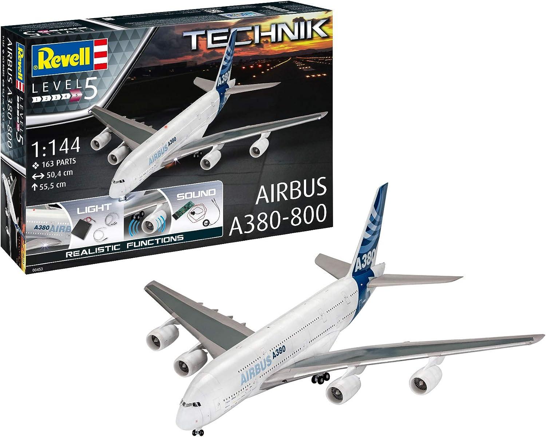 Revell Technik 00453 Airbus A380 800 Modellflugzeug 1 144 50 4 Cm Originalgetreuer Modellbausatz Fur Experten Mit Elektronischen Komponenten Unlackiert Amazon De Spielzeug