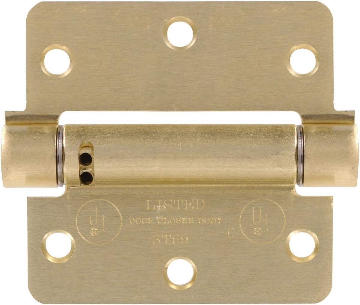 Hillman Hardware Essentials 851962 Adjustable Square Corner Satin Brass Spring Hinges 3-1//2