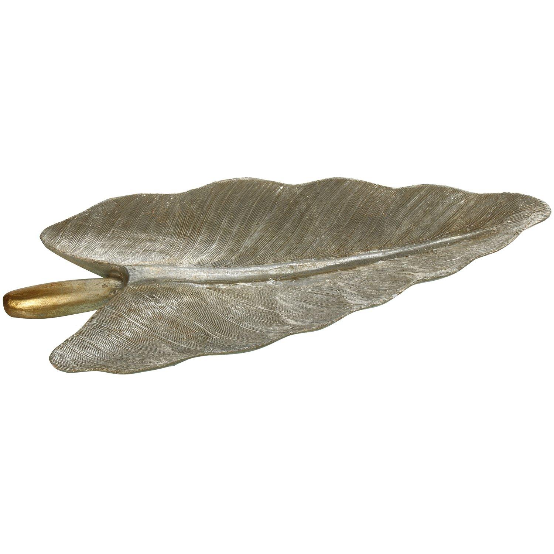 DonRegaloWeb – Centro di tavolo a forma di foglia in legno albasia in colore argento