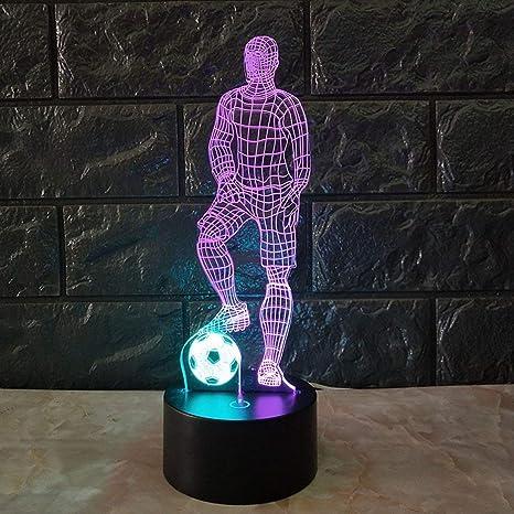 Divertida lámpara de mesa 3D con diseño de balón de fútbol, 7 ...
