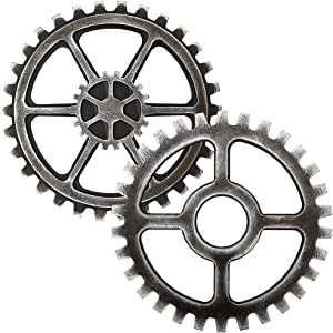 Sumnacon 2 Pcs 9.4 Inch Industrial Steampunk Style Gear Wheel Wall Decoration, Vintage Gear Wheel Art Craft Wall Decor for Home/Bar/Office Hotel/Cafe/Resturant