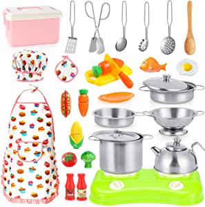 PlayKitchenToysFoodSet- 30 pcs Kitchen Pretend Playset,Kitchen Toys Accessories for Kids With Stainless Cookware,Pots and Pans, Cooking Utensils,Apron & Chef Hat, Play Food Toy Set for Girls,Boys