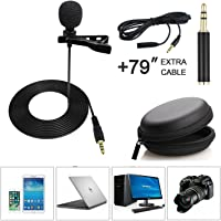 Accs 3.5mm Lapel Microphone with TRRS to TRS Adapter, 79 Inch Extra Cable and Carrying Pouch