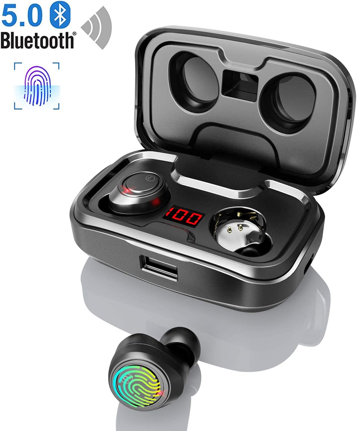 Bluetooth 5.0 Kopfhörer Touch Control 3600mAh Ladebox Wireless Charger Headset