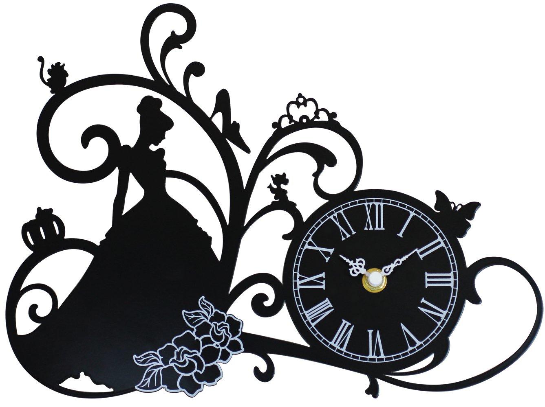 ディズニー 掛け時計 シンデレラ メタルフレーム ブラック DIC-019-DL-CD1 B01CU08QEY
