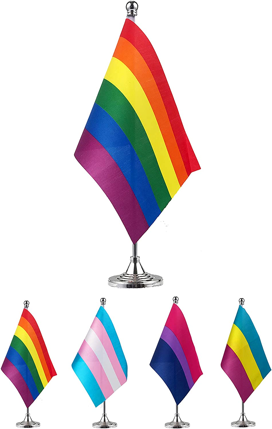 GentleGirl.USA Rainbow Table Flag LGBT Stick Small Mini Rainbow Flag Office Table Flag with Stand Base, Gay Pride and Proud Theme Party Decoration
