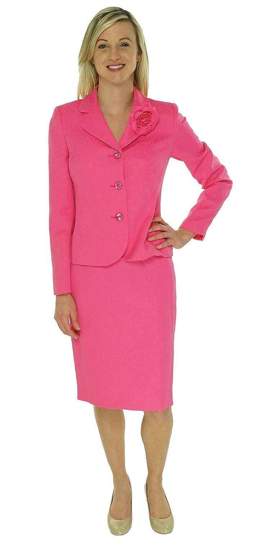Le Suit Petite Rose Garden Carnation Pink Textured Skirt Jacket 2 Pc Suit