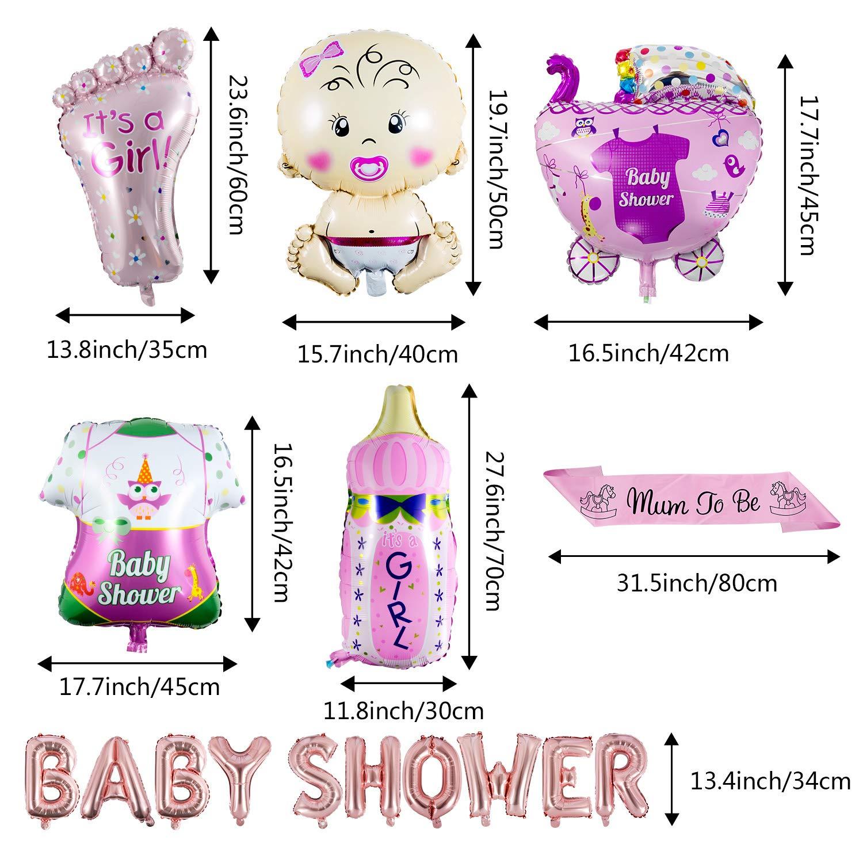 ZOEON Baby Shower Globos para Fiestas Infantiles, Globos de Papel de Aluminio Its a Boy/Girl con Faja Mum to Be (NIÑA)