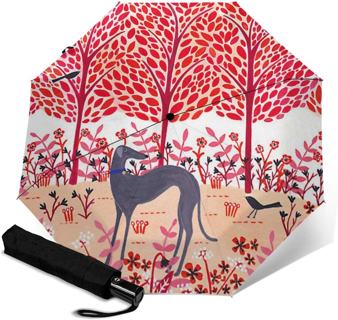 Autumn Greyhound Dog Pink Automatic Open Folding Compact Travel Umbrellas For Women
