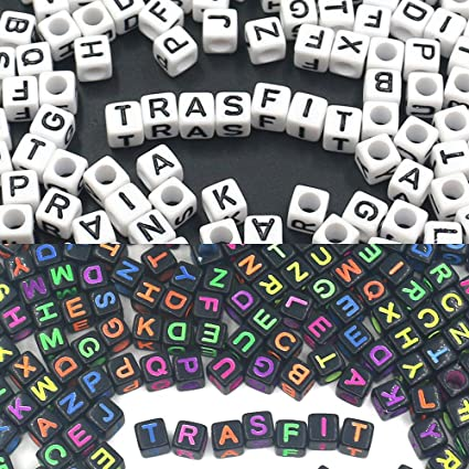 100 Black /& Coloured Writing Alphabet Mixed Letters Cube Beads 6mm BUY 3 FOR 2