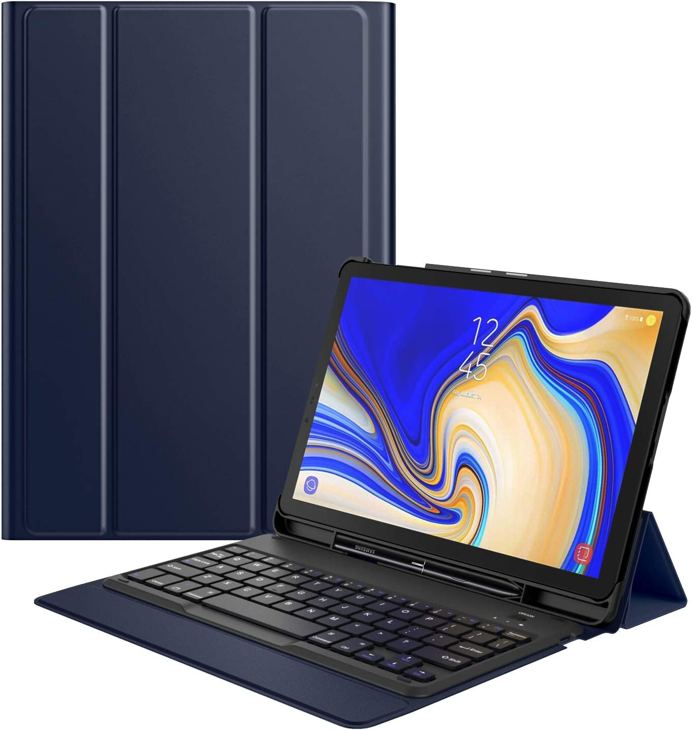 MoKo Keyboard Case Fit Samsung Galaxy Tab S4 10.5 w/S Pen Holder, Wireless Bluetooth Keyboard Cover Case Compatible Galaxy Tab S4 10.5 Inch (SM-T830 and SM-T835) 2018 Release Tablet - Indigo