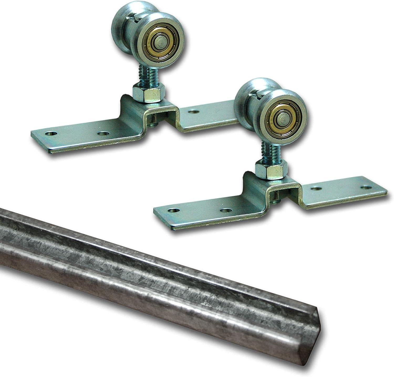 Kit de accesorios para puerta corredera (55 kg) incluido para carril de 3 M, de acero: Amazon.es: Bricolaje y herramientas