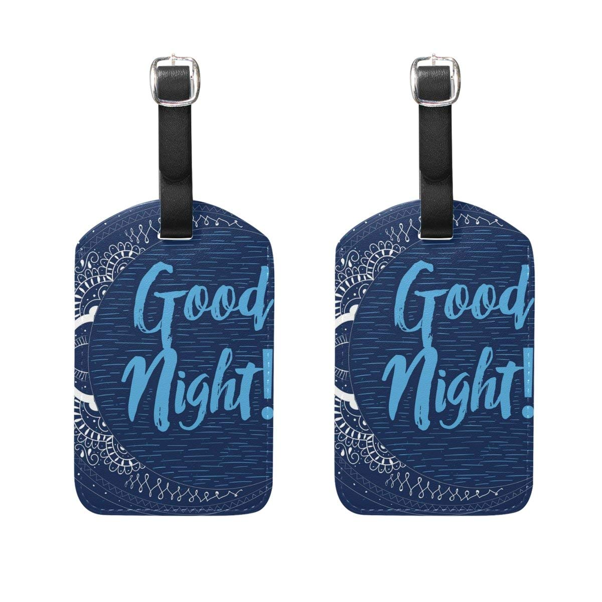 GTdgstdsc Sun Moon And Stars Pattern Luggage Tags Travel Labels Tag Name Card Holder for Baggage