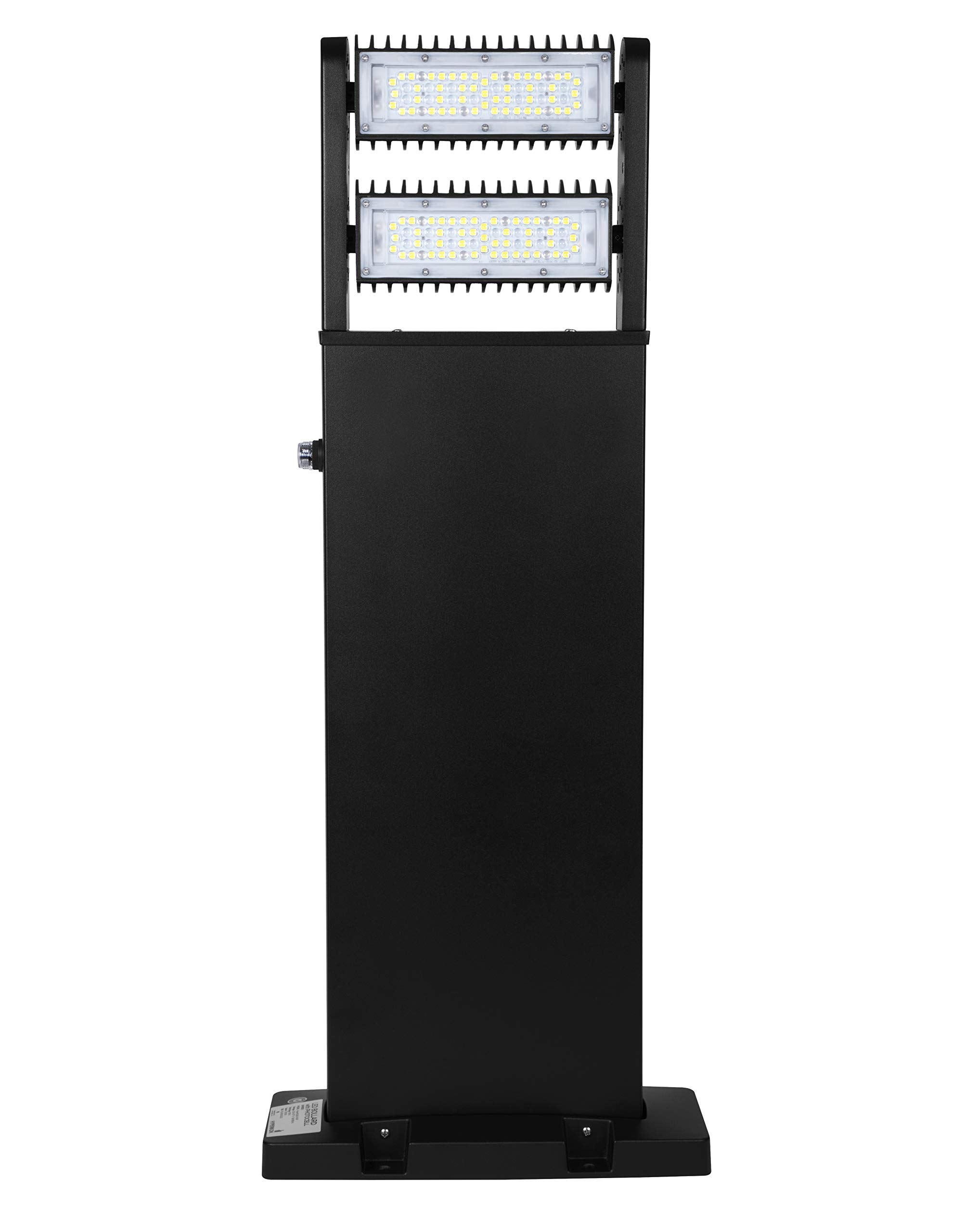 Hyperikon LED Bollard Light, 80W 32 Inch Square, Outdoor Landscape Lighting Pole, 5000K, IP65, Rotatable Light Head