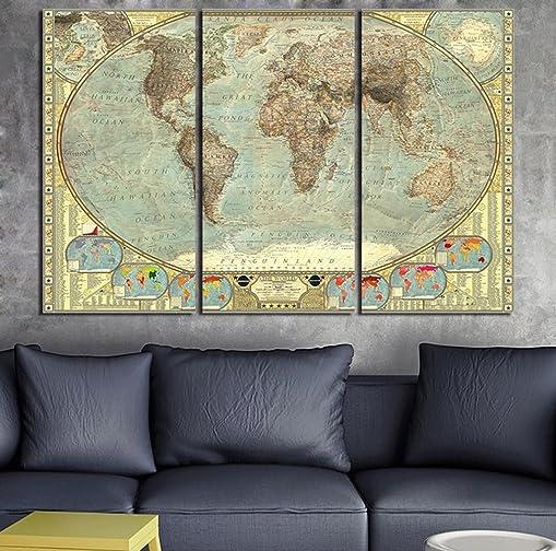 3 Piece Canvas Art Print Vintage Home Decor World Map Painting Ancient Retro Picture