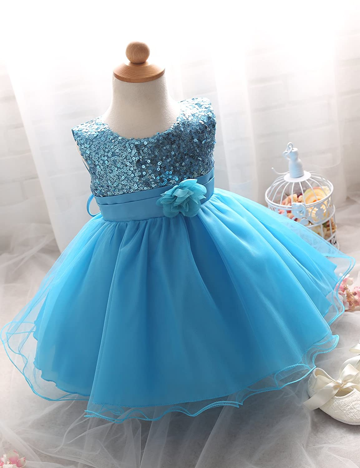 Amazon.com: NNJXD Girl Flower Sequin Princess Tutu Tulle Baby Party ...