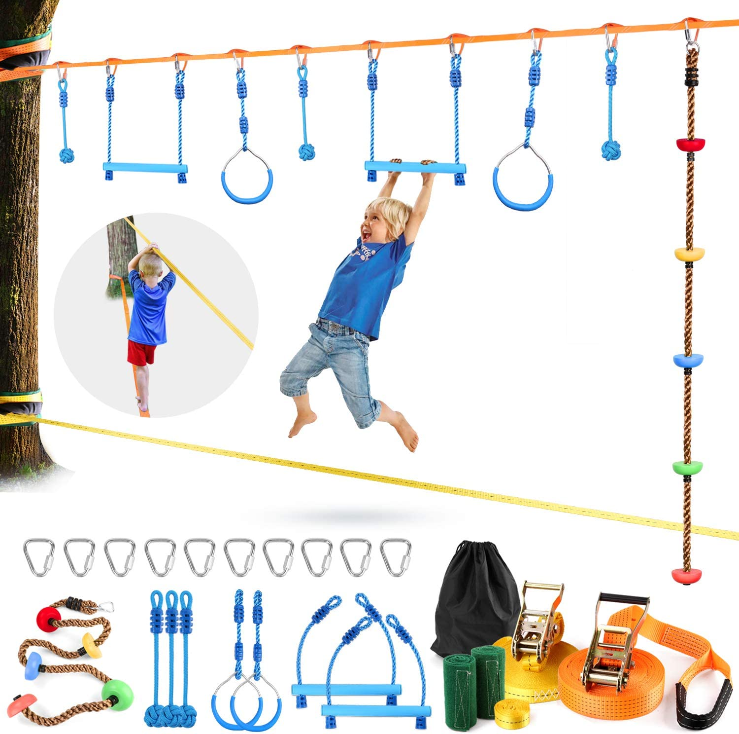Odoland 50ft Slackline Ninja Line Obstacle Course Kit for Kid Include Climb Rope, 2 Swing Bar, 3 Swing Ball, 2 Swing Ring and Foot Balance Rope, Balance Sports Suit for Children on Tree and Backyard