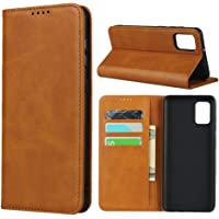 "Cavor for Samsung Galaxy A31 Case,Cowhide Pattern Leather Case Magnetic Wallet Cover with Card Slots (6.4"") -Light Brown"