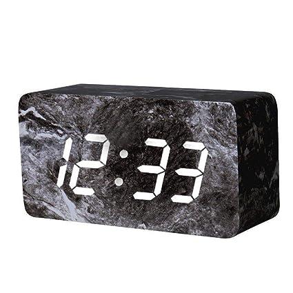 Madera Despertador Digital Negro LED Display Wake Up Luz Despertador con 3 Grupos ajuste de alarma