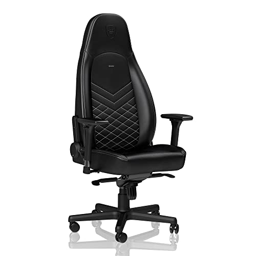 noblechairs ICON Gaming Chair – Office Chair – Desk Chair – PU Faux Leather – Ergonomic – Cold Foam Upholstery – 330 lbs – Racing Seat Design – Black White