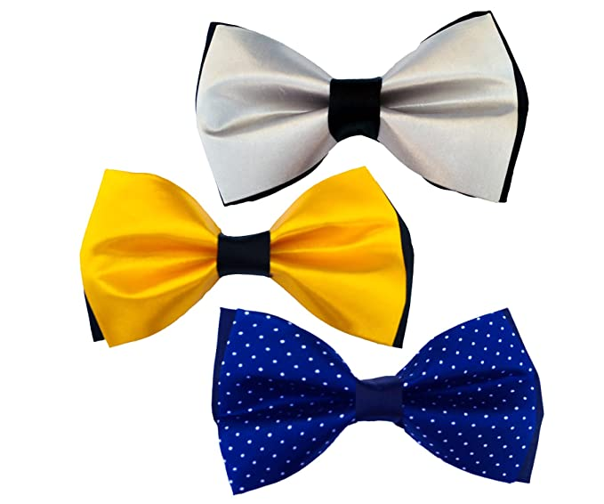 edab796159fe Image Unavailable. Image not available for. Colour: Karton10 Combo of 3  Dotted royal Blue Gray & Yellow tuxedo Men's Double Bow adjustable neck
