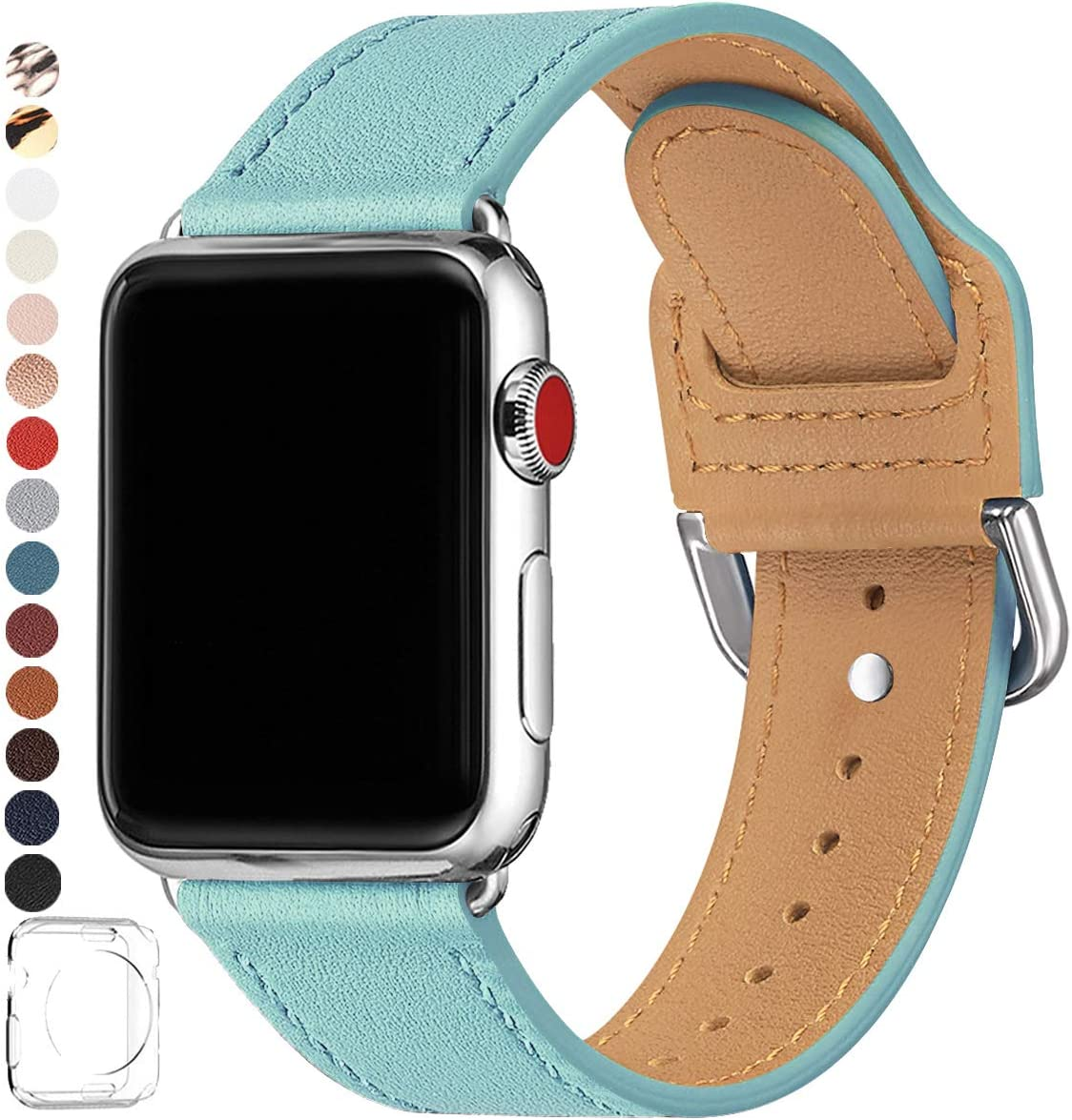 POWER PRIMACY Bands Compatible with Apple Watch Band 38mm 40mm 42mm 44mm, Top Grain Leather Smart Watch Band Compatible for Men Women iWatch Series 5/4/3/2/1 (Tiffany Blue/Silver, 38mm 40mm)