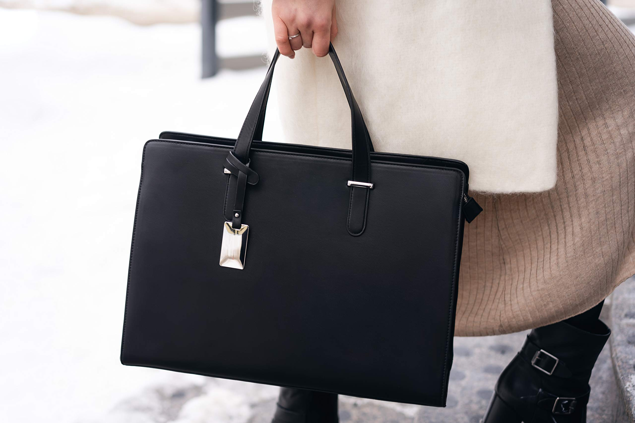Computer Bag for Women - Ideal Laptop Tote Bag to Keep Your Business Documents, Laptop & Notebook Safe, Unique & Practical Laptop Accessories (Black) by BLONS California (Image #10)