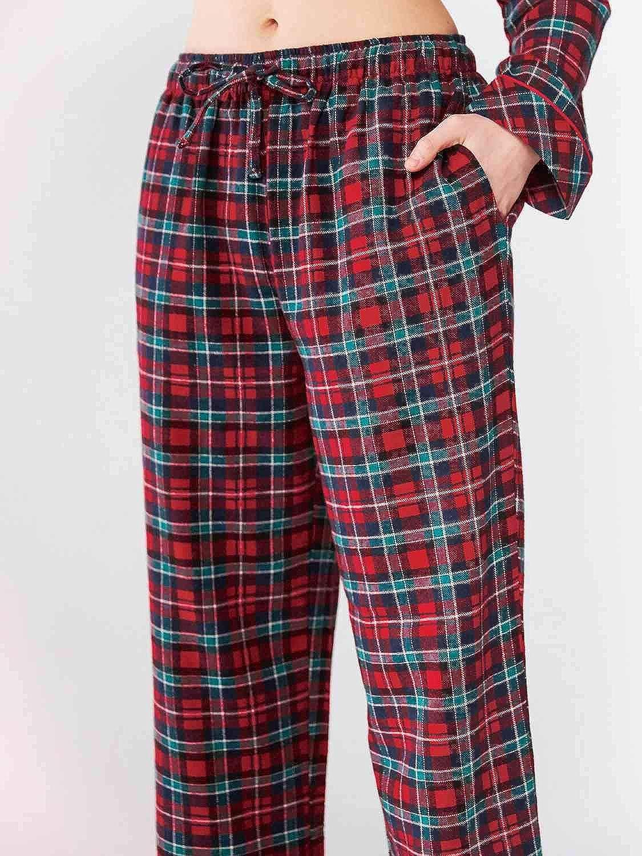 SIORO Pantaloni da Salotto da Notte Donna in Flanella di Cotone a Quadri in Flanella con Tasche