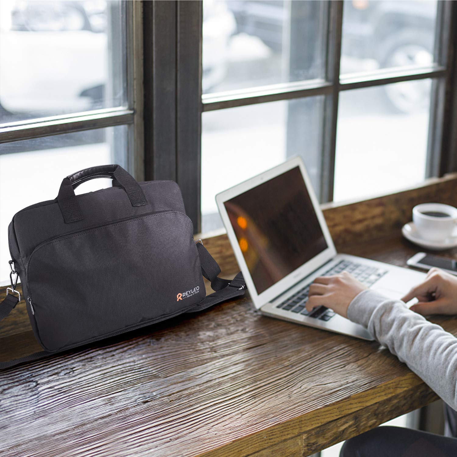 REYLEO 15.6 Inch Laptop Bag Travel Briefcase with Luggage Strap Water Resistant Shoulder Bag Business Messenger Briefcases for Men and Women Fits Laptop Computer Tablet, LCB1B by REYLEO (Image #7)
