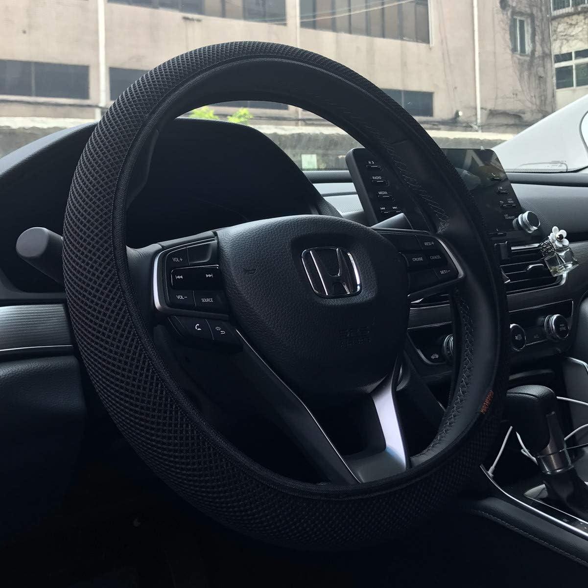 Universal 15 inch KAFEEK Steering Wheel Cover Black Odorless Microfiber Breathable Ice Silk Easy Carry Anti-Slip