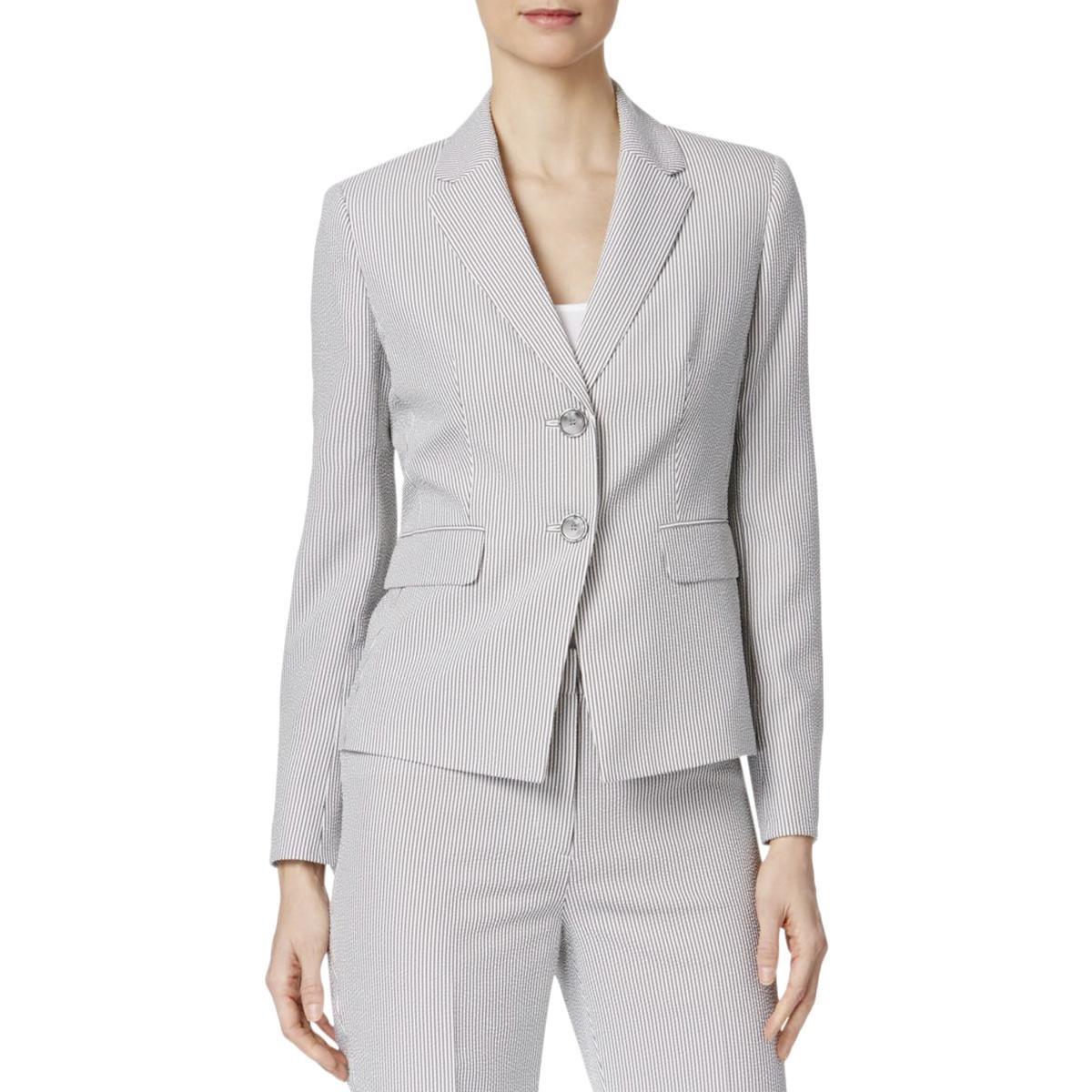 Kasper Women's Petite Size 2 Button Notch Collar Pinstripe Seersucker Jacket, White/Black, 2P