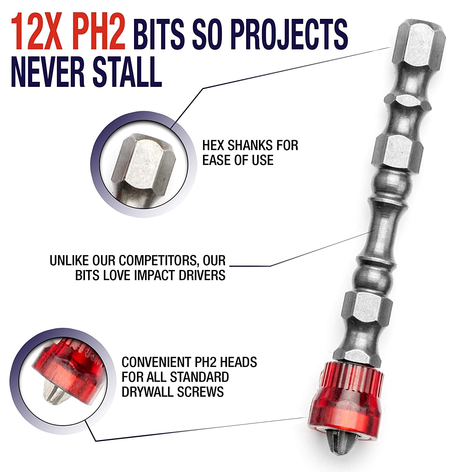HUGE 12pc SET Magnetic Drywall Screw Setter Bit Set Impact Ready Hex Shank Phillips Head PH2 Drill Driver Bits with Magnetic Collars and Storage Case for Electric Screwdrivers and Drivers