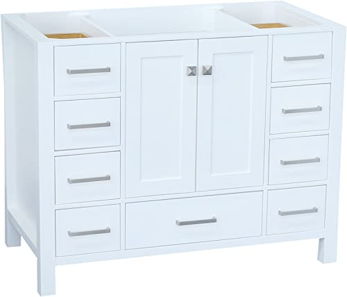 ARIEL Cambridge A043S-BC-WHT 42 Inch Single Solid Wood White Bathroom Vanity Base Cabinet