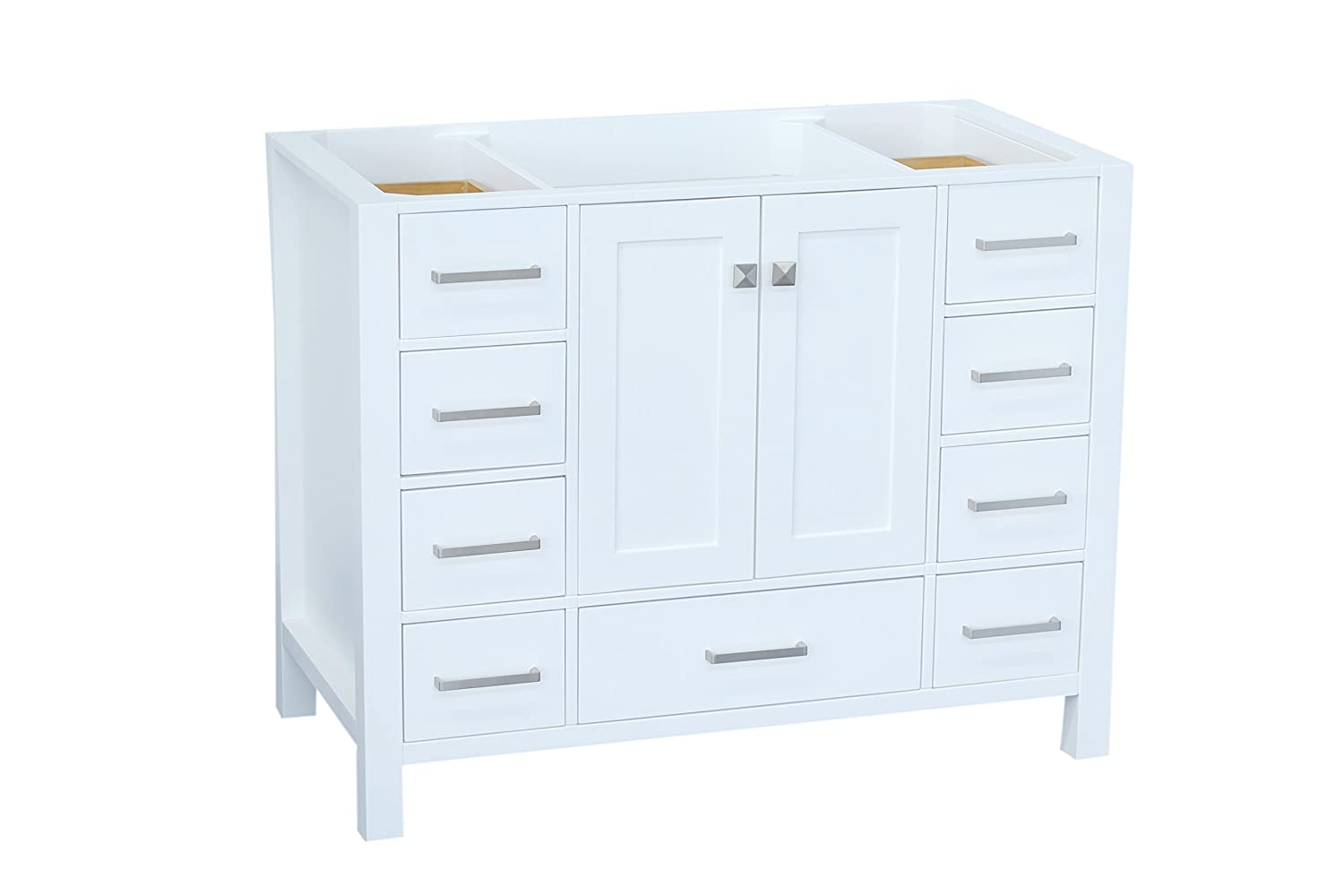 ARIEL Cambridge A043S-BC-WHT 42 Inch Single Solid Wood White Bathroom Vanity Base Cabinet with 2 Soft-Closing Doors and 9 Self-Closing Drawers