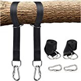 Tree Swing Hanging Straps Kit, Holds 2200 lbs 5ft Extra Long with Safer Lock Snap Carabiner Hooks for Hammocks, Carry…