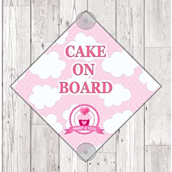 Ws01 cake on board personalised car sign sticker with suction cups own design logo added