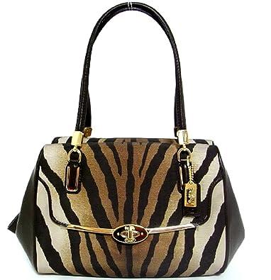 amazon com coach madison zebra madeline e w satchel brown multi rh amazon com