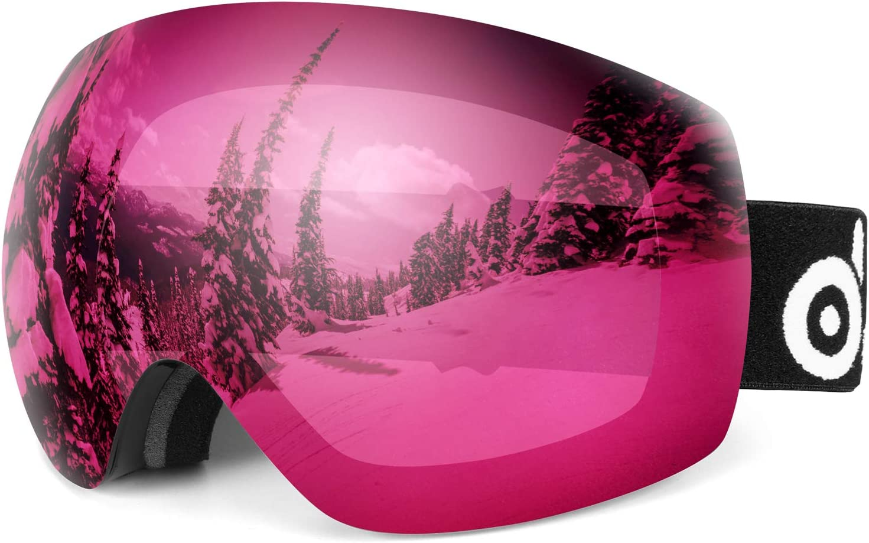 Lunettes de Protection D/étachable Sph/érique Masque de Snowboard Hommes et Femmes Odoland Kit de Lunettes de Ski avec Lentille d/étachable Anti-Bu/ée Coupe-Vent Anti-UV400