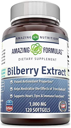 Amazing Formulas Bilberry Extract Natural Dietary Supplement 1000 Mg 120 Softgels Non-GMO,Gluten Free Rich in Vitamins – Pure Extract of Bilberries