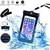 GoStellar Universal Waterproof Dry Bag Case (Floatable) for Smartphone Devices - Armband + Headphone Jack + Lanyard (Neck Strap) - Protects from Water/Snow/Dust/Dirt