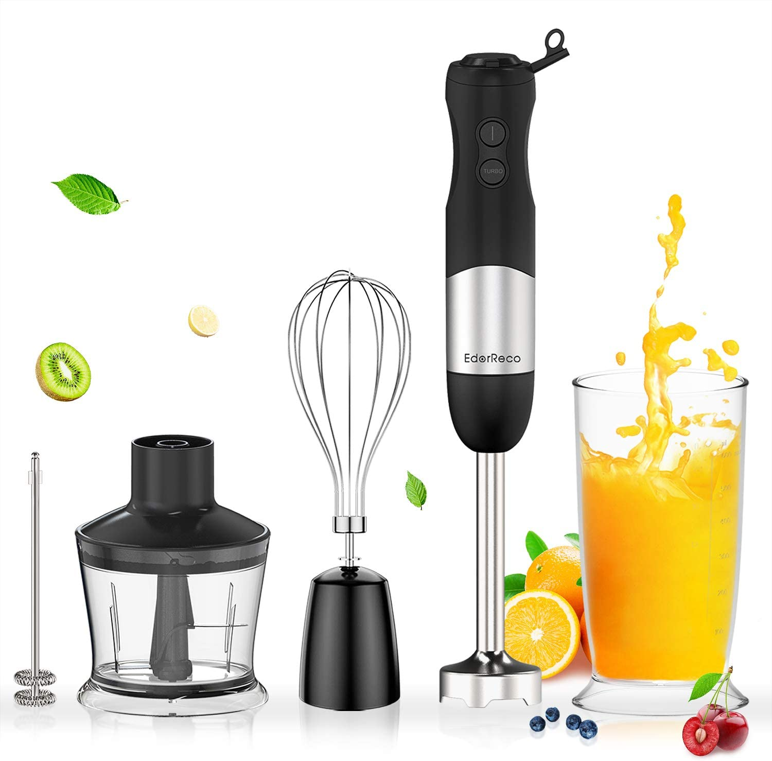 EdorReco 5-in-1 Immersion Hand Blender, 4-Point Stainless Steel Blade, 600W 12-Speed Motor, BPA-free & Dishwasher-safe Attachments: Milk Frother, Whisk, 20oz Measuring Cup & 17oz Chopper, Corded