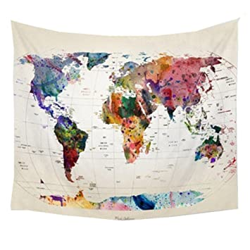 Amazon polyester wall hanging world map tapestry indian mandala polyester wall hanging world map tapestry indian mandala throw blanket bedspread home dorm living room decoration gumiabroncs Images