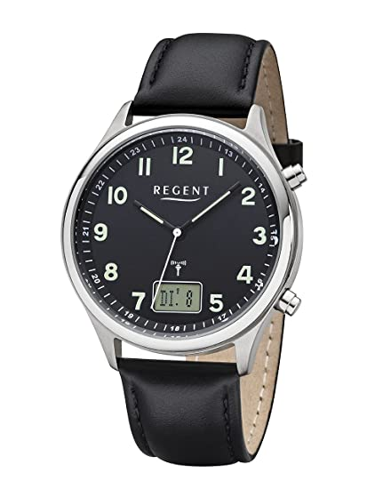 Regent Hombre - Radio reloj reloj de pulsera banda de acero inoxidable analógico digital cuarzo Cuero Negro Ba de 447: Amazon.es: Relojes