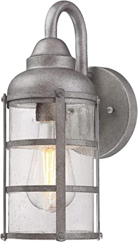 Westinghouse Lighting 6357700 Rezner One-Light, Galvanized Steel Finish with Clear Seeded Glass Outdoor Wall Fixture