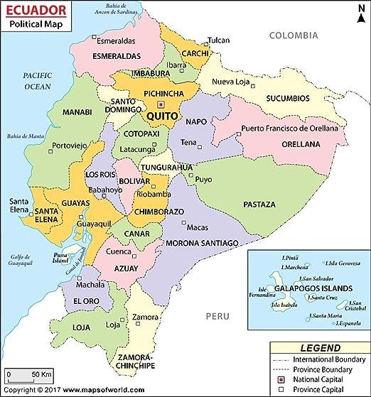 Amazoncom Ecuador Political Map 36 W x 3851 H Office Products