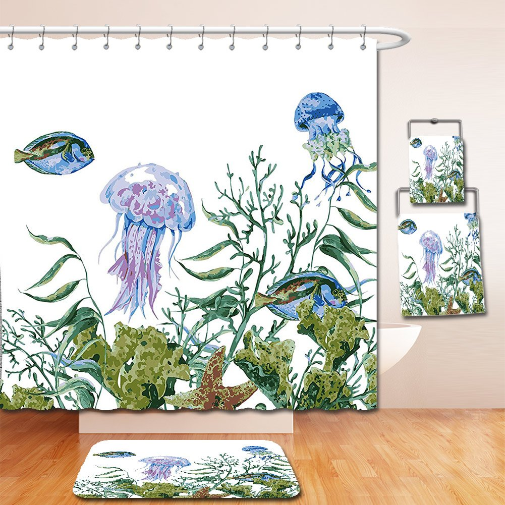 Nalahome Bath Suit: Showercurtain Bathrug Bathtowel Handtowel Ocean Watercolor Style Effect Sea Life Pattern with Seaweed Jellyfish and Fish Reseda Green Jade Green