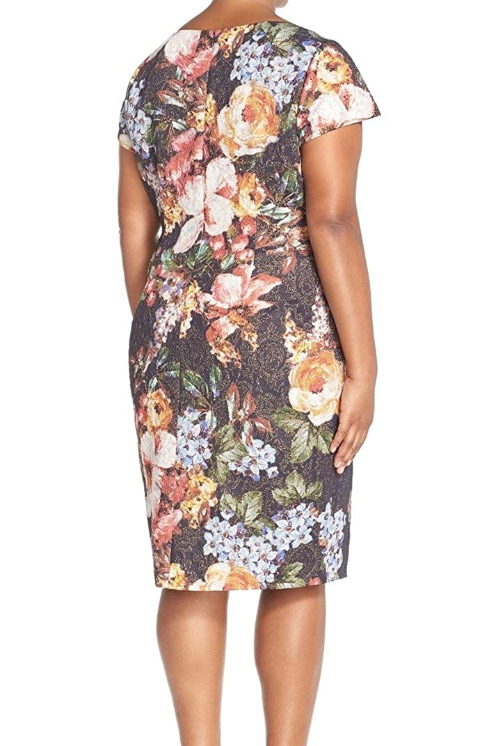 Adrianna Papell Womens Plus Pleated Embellished Faux Wrap Dress 20w Multi