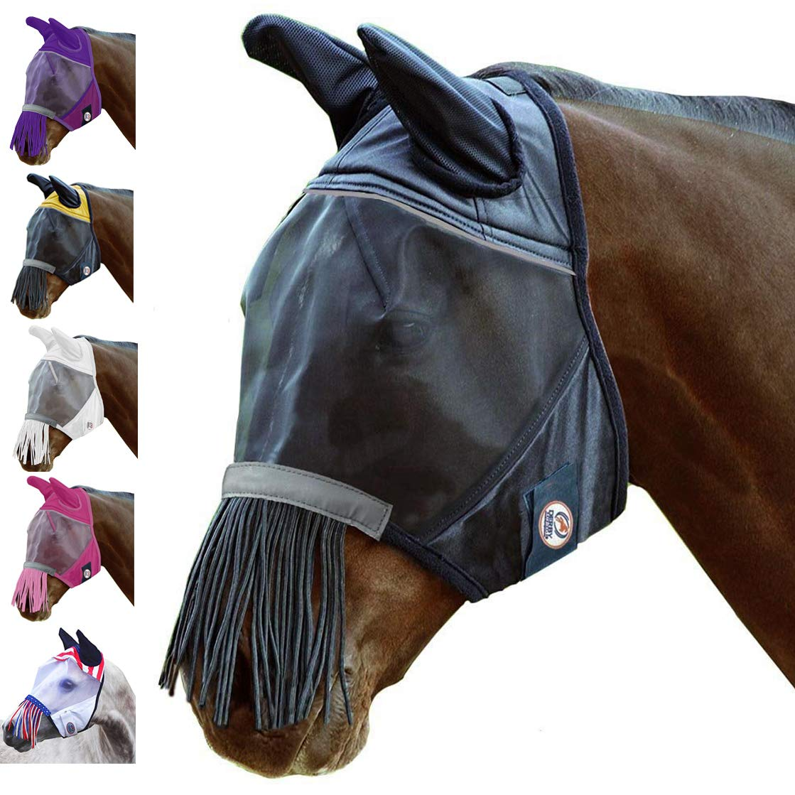 Black Warmblood Black Warmblood Derby Reflective Trim Horse Fly Mask with Ears & Fringes with One Year Warranty (Warmblood, Black)