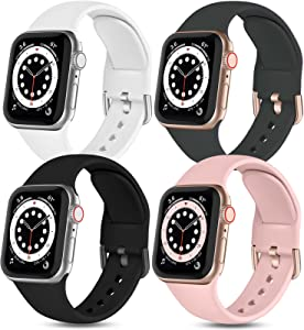 Witzon Compatible with Apple Watch Band 40mm 38mm iWatch Series 6 5 4 3 2 1 SE for Women Girls Ladies, 4 Pack Cute Soft Silicone Replacement Sport Bands, Black/White/Deep Grey/Pinksand